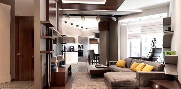 Дизайн однокомнатной квартиры студии 45 кв.м